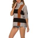 New Arrival Womens Plaid Print Roll Neck Half Sleeve Knitwear Sweater