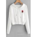 Basic Simple Floral Embroidery Long Sleeve White Crop Hoodie