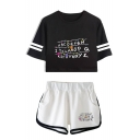 Trendy Letter Printed Short Sleeve Crop Tee with Dolphin Shorts Two-Piece Set