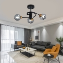 Curved Arms Living Room Semi Flush Ceiling Light Metal 3/5 Light Modern Flush Mount Light in Amber/Smoke Gray