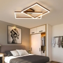 2/3/4 Light Square Flush Mount Ceiling Fixture Modern Metal Ceiling Light in Brown for Living Room