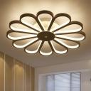 Flower Living Room Semi Flush Metal Contemporary Ceiling Light Fixture in White