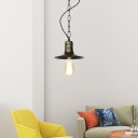 Single Head Coolie Pendant Light Antique Metal Ceiling Hanging Light in Black for Workshop