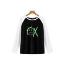 Funny Cartoon OX Printed Color Block Raglan Long Sleeve Loose Leisure T-Shirt