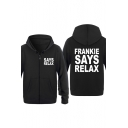 Popular Slogan Frankie Says Relax Printed Funny Slim Fit Zip Up Hoodie