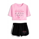 Popular Kpop Boy Band Logo Persona Short Sleeve Crop Tee with Dolphin Shorts Two-Piece Set
