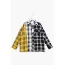 Popular Kpop Boy Band Fashion Colorblocked Check Print Long Sleeve Over Shirt