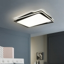 Acrylic Rectangular Flush Ceiling Lighting LED Modern Simple Ceiling Lamp in Black for Living Room