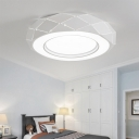 White Drum Ceiling Mounted Lights LED Modern Simple Metallic Flush Mount for Bedroom