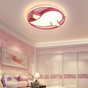 LED Little Bird Ceiling Light Fixture Nordic Kids Metallic Flush Mount Light with Ring