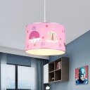Pink Fabric Drum Pendant Lamp 1 Light Modern Kids Suspension Light for Girls Room