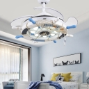 Colorful Steering Wheel Fan Light Nautical Wood and Glass 8 Bulbs Ceiling Fan with Fishnet