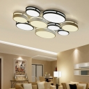 3/4/6/9 Light Ellipse Shade Ceiling Light Modern Metal Flush Mount Lighting in Black and White for Living Room