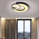 Combination Square/Round Indoor Flush Mount Fixture Metal Contemporary Ceiling Light in Black and White