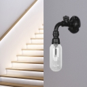 Black Pipe Sconce Lighting Fixtures Antique Metal and Glass 1 Bulb Sconce Lights for Foyer