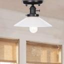 Aged Flared Semi Flush Mount Light Iron 1 Head Semi-Flush Mount Ceiling Fixture for Bedroom