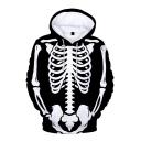 Fashion Halloween Skeleton Printed Long Sleeve Casual Loose Black Hoodie