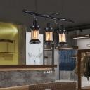 Black Branch Island-Light Retro Style Metal 3 Light Ceiling Pendant Light with Tea Glass Shade over Island