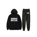 New Trendy Letter Dunder Mifflin Printed Loose Hoodie with Sport Sweatpants Two-Piece Set