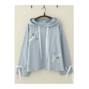 Chic Crane Embroidered Bow Cuff Wide Long Sleeve Leisure Hoodie