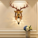 Clear Crystal Water Drop Wall Lamp with Resin Stag Head 1-Light Rustic Wall Sconce