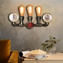 Antique Bare Bulb Wall Mounted Light Metal 3 Bulbs Up Lighting Sconce Lamp with Pipe for Coffee Shop
