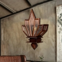 Lotus Wall Mounted Light Rustic Teak and Wax 1 Light Unique Wall Sconce Lighting for Indoor
