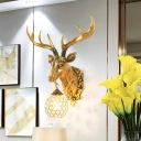 Rustic Sphere Wall Lighting with Gold Stag Head 1 Light Clear Crystal Sconce Light