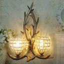 Clear Crystal Gourd Wall Lighting with Antler Decoration Country Style Double Wall Sconce