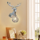Rustic Gourd Wall Sconce Lighting Colorful Crystal Bead 1 Light Living Room Wall Light with Deer