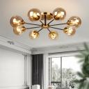 Glass Orb Semi Flush Light with Radial Design Mid Century Ceiling Light Fixture in Brass
