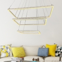 Matte White Rectangle Hanging Chandelier Modern Simple Led Indoor Pendant Light