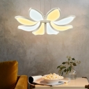 Acrylic Flower Chandelier Light Modern Integrated Led White Hanging Ceiling Light