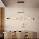 Integrated Led Waving Hanging Chandelier Minimalist Metal Linear Pendant Light in Black