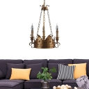Aged Brass Crown Hanging Light with Candle Loft Country Style Metal Chandelier Lighting