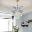 Flower Pendant Lighting French Country Crystal and Ceramic Ceiling Pendant for Bedroom and Living Room
