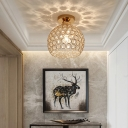 Gold Global Ceiling Lights Modern Metal and Crystal 1 Head Lighting Fixture for Corridor Hallway