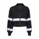 Hot Popular Reflect Light Stripe Zippered Pocket Lapel Collar Color-Block Cropped Zip Up Casual Jacket Coat