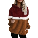 Hot Fashion Half-Zip Front Color Block Long Sleeve Fluffy Teddy Hoodie