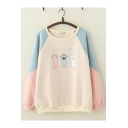 Lovely Cartoon Cat Claw Pattern Color Block Round Neck Long Sleeve Loose Pullover Sweatshirt