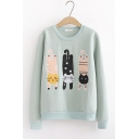 Chic Cat Embroidered Long Sleeve Round Neck Sweatshirt For Girls