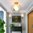 Spherical Flush Mount Lighting Art Deco Frosted Glass 1 Light Ceiling Lamp in Gold
