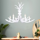 White Antler Ceiling Pendant Light Resin Indoor Chandelier Lighting for Dining Room