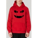 Hot Stylish  Long Sleeve Halloween Smiling Face Printed Casual Loose Leisure Hoodie With Pocket