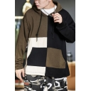 Mens Trendy Colorblock Patched Long Sleeve Casual Sports Drawstring Hoodie