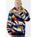 Mens New Fashion Unique Colorful Printed Long Sleeve Casual Drawstring Pullover Hoodie