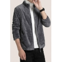 New Arrival Simple Plain Plush Long Sleeve Stand Collar Mens Zip Up Coat Hoodie