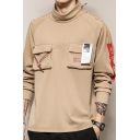 Mens Cool Fashion Letter Printed Double Pocket Front Long Sleeve High Neck Pullover Hoodie