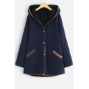 New Fashion Diamond Lattice Button Front Warm Padded Cotton Hooded Longline Coat