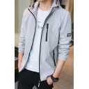 Mens Basic Simple Long Sleeve Zipper Front Hooded Insulated Jacket